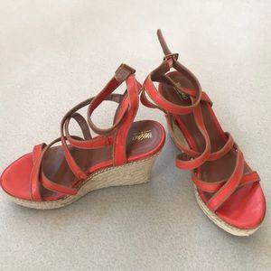 Mossimo Orange Wedge Sandals 6.5
